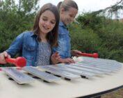 חווית הנגינה, שתי ילדות מנגנות יחד במרימבה